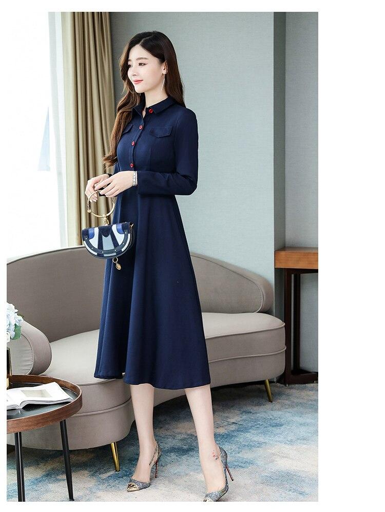 נשים אלגנטי ארוך חולצה שמלות אונליין מוצק צבע משרד ליידי עבודת שמלות תורו למטה צווארון נשי עסקים גדול גודל שמלה