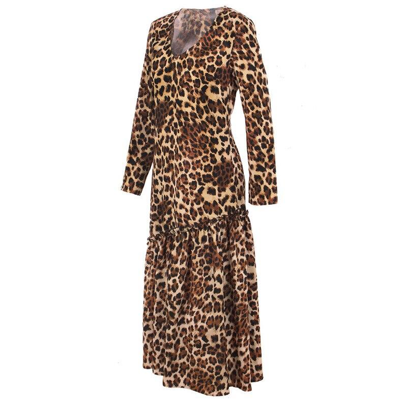 Nadafair נשים נמר שמלת 2019 ארוך שרוול סתיו חורף מסיבת אלגנטי שמלת בעלי החיים הדפסת בציר Midi שמלת נשים Vestidos