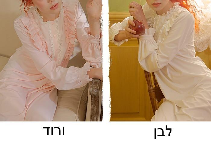 נשים של חמוד נסיכת שמלה ארוך שרוול Sleepshirts בציר חוטי Selvedge כותנות לילה. ויקטוריאני כותונת שינה Loungewear
