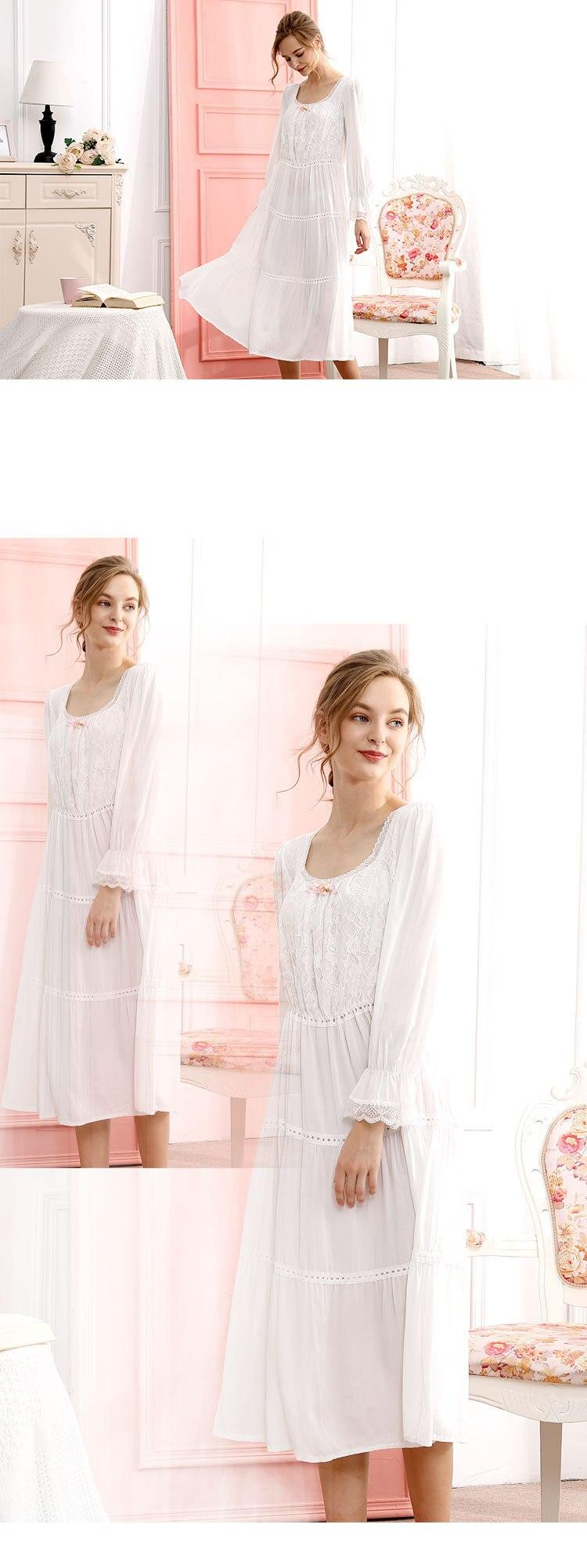 קיץ כותנה ארמון סגנון ארוך שרוולים כותונת נשים תחרה מתוקה נסיכת Loose עוגת שמלת קטן כיכר צווארון רופף פנאי