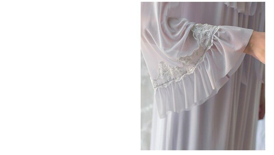 2021 חדש נשים ארוך שרוול שתי חתיכות כתונת לילה סט ארמון בציר שמלת אולטרה רך פיות כותונת עבור אביב סתיו הלבשת