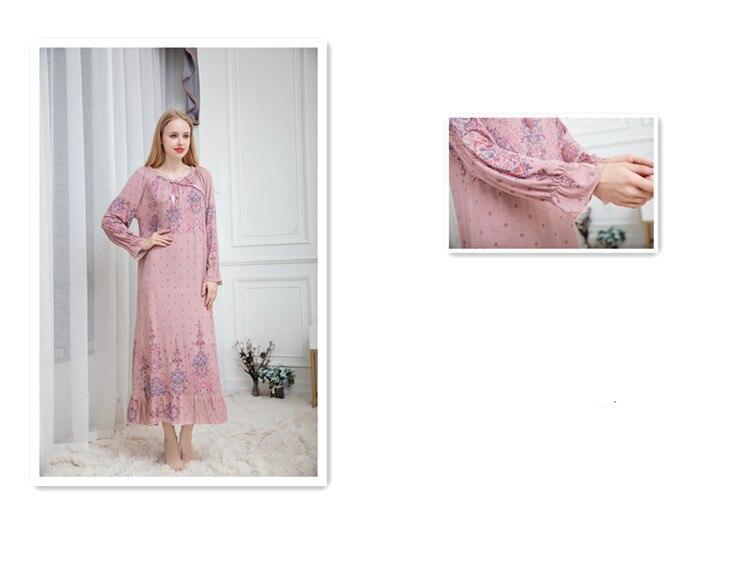 נשים של ארוך שרוולים שינה שמלת מודאלי הלבשת ארוך Loose פרחוני מודפס כתנות הלילה Nightwear קומפי בית שמלה בתוספת גודל