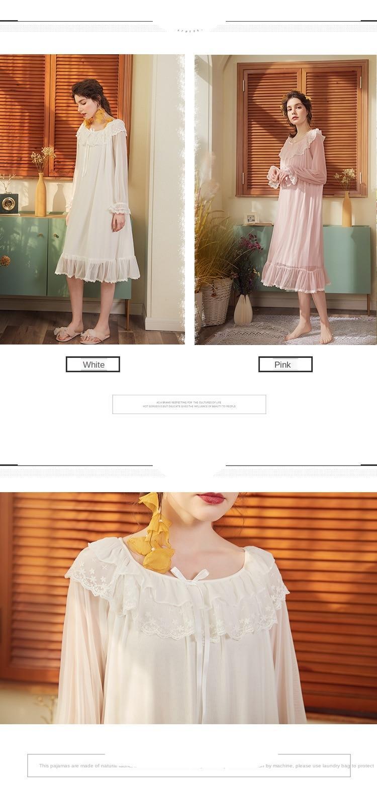 נשים שינה שמלה חדשה נסיכת בציר קפלי תחרה סקסית מודאלית כותונת ארמון כתונת לילה הלבשת בית ארוך חצאית