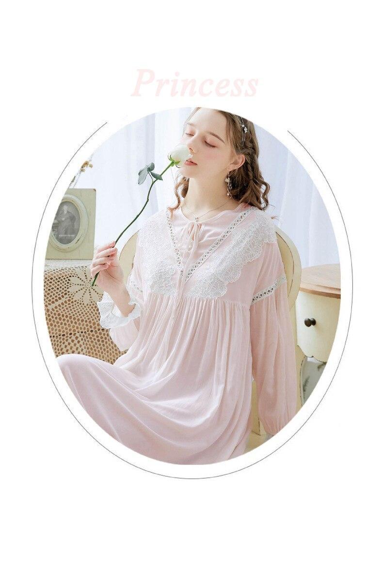 נשים של ארוך לבן כותונת רטרו משפט מתוק נסיכה בתוספת גודל כותנה ארוך שרוולים ארמון בציר כתונת לילה אביב סתיו