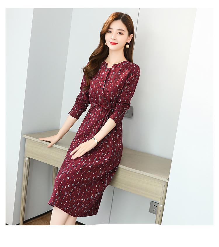 2020 בציר אדום מקרית Midi שמלות סתיו חורף בתוספת גודל סקסי מסלול מקסי שמלת נשים אלגנטיות Bodycon מסיבת ערב Vestidos
