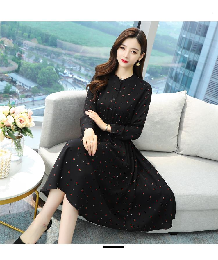 סתיו חורף שחור בציר חולצה Midi שמלה בתוספת גודל ארוך שרוול שיפון Boho שמלות 2020 נשים אלגנטי המפלגה Bodycon Vestido