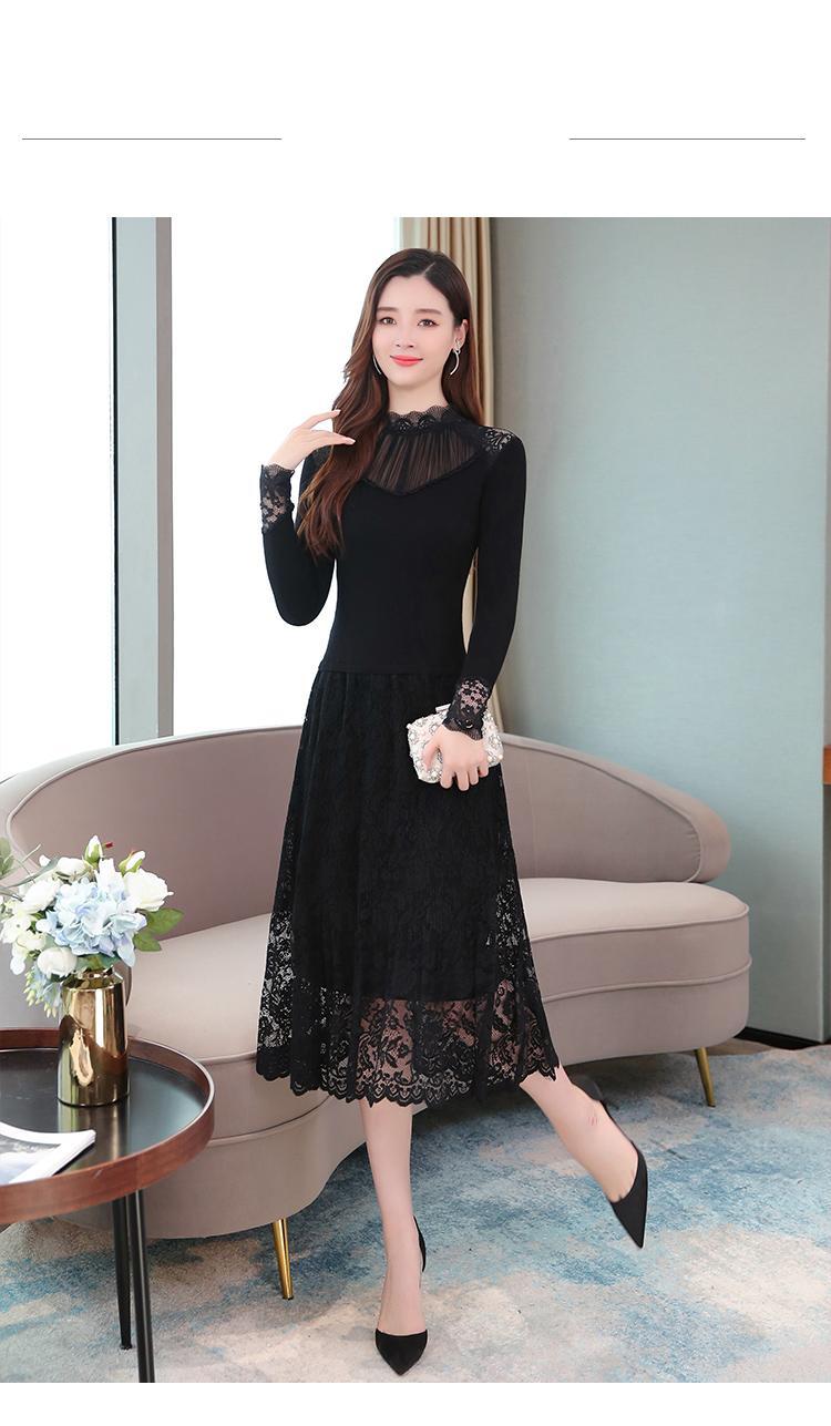 2021 סתיו חורף בציר לסרוג קטיפה Vestidos 3XL בתוספת גודל נשים Bodycon מקרית שחור מקסי שמלת המפלגה סקסית תחרה Midi שמלות