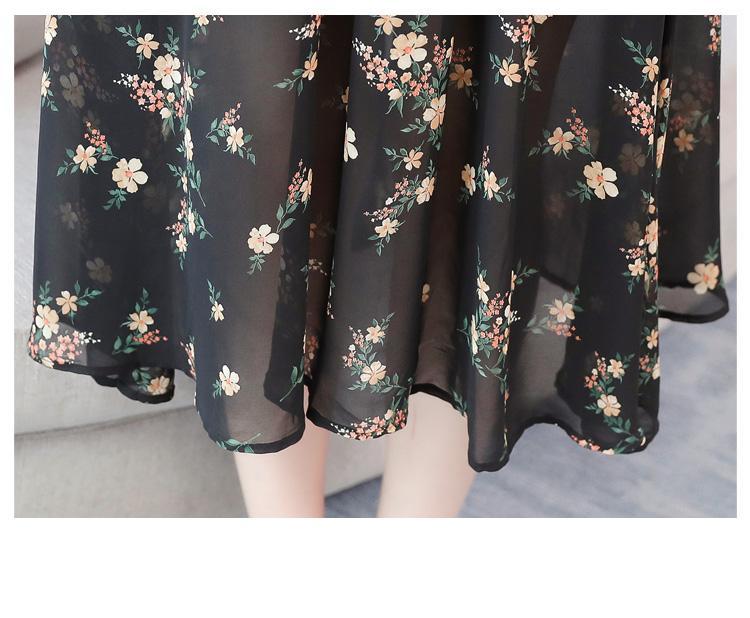 קיץ חדש שחור בציר פרחוני שיפון Midi שמלה קיצית 2021 אלגנטי נשים בתוספת גודל Boho חוף שמלת מסיבת שרוול קצר Vestidos