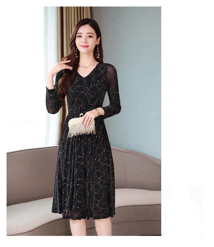 2021 שחור מודפס שיפון 2XL בתוספת גודל Midi שמלות סתיו בציר Boho ארוך שרוול חוף שמלת נשים אלגנטית Bodycon Vestido