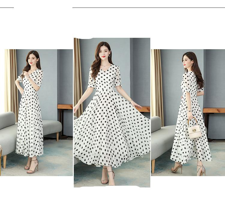 4XL בתוספת גודל קיץ בציר Boho Midi שמלות מנוקדת שיפון לבן מזדמן חוף שמלת 2021 נשים Bodycon המפלגה מקסי Vestidos