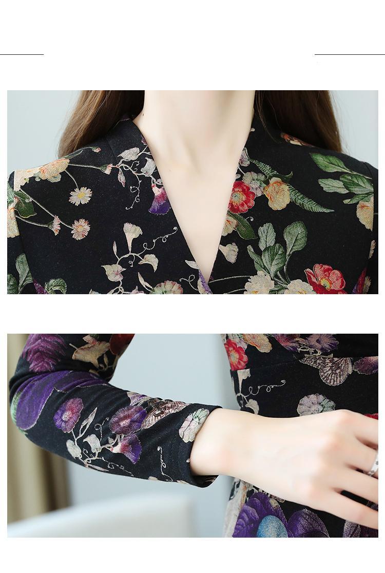 בתוספת גודל אביב סתיו פרחוני אלגנטי שמלות 2021 Vintage לסרוג כותנה חם Midi שמלת נשים Bodycon מפלגה מקרית מקסי Vestidos
