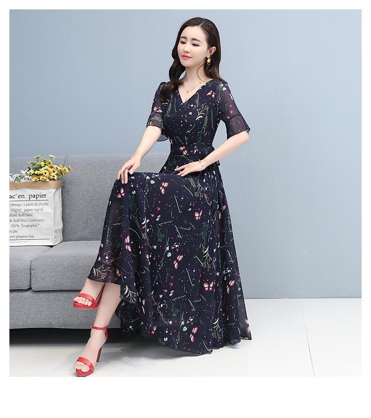 קיץ בציר בתוספת גודל Boho ארוך שמלה קיצית 2021 פרחוני שיפון מזדמן חוף Midi שמלת קוריאני נשים Bodycon המפלגה מקסי Vestidos