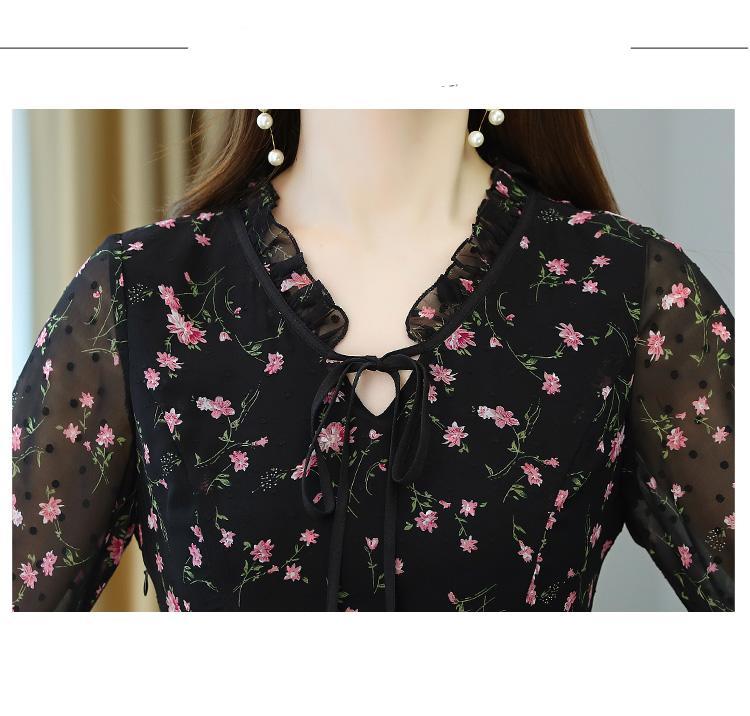 2021 Vintage פרחוני שיפון Boho Midi שמלת סתיו החורף בתוספת גודל ארוך שרוול שמלה אלגנטי נשים המפלגה Bodycon מקסי Vestidos