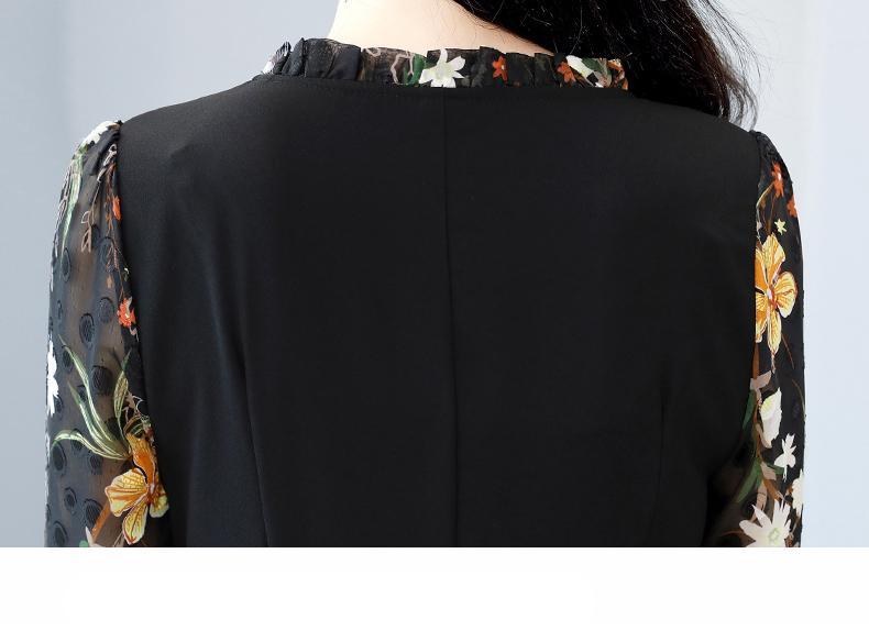2021 אביב סתיו אלגנטי נשים המפלגה Bodycon שמלות קוריאני בציר 3XL בתוספת גודל הדפסת Midi מקרית ארוך שרוול Vestidos