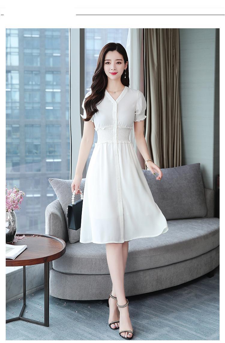 קיץ קוריאני בציר לבן Boho שמלה קיצית 2021 חדש בתוספת גודל משרד ליידי מוצק Midi שמלות נשים המפלגה Bodycon אלגנטי Vestidos